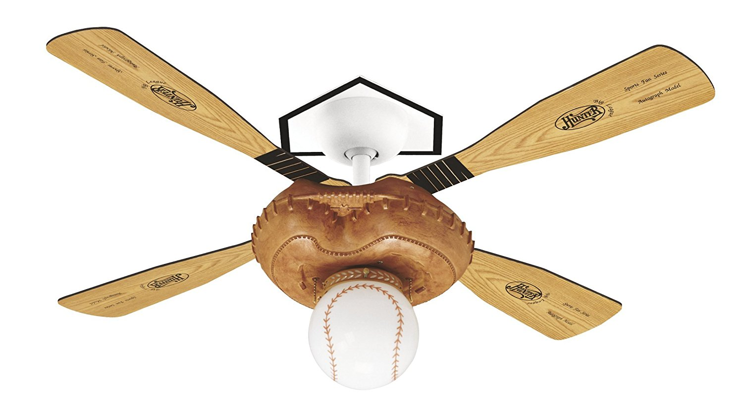 Hunter 23252 Baseball 44-Inch Single Light 4-Blade Ceiling Fan, Leather-Look Mitt Base with 4 Pine/Aluminum Blades and Baseball Light
