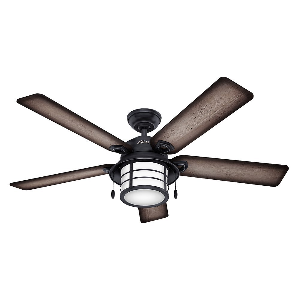 "Hunter 59135 Key Biscayne 54"" Weathered Zinc Ceiling Fan with Five Burnished Gray Pine/Gray Pine Reversible Blades"