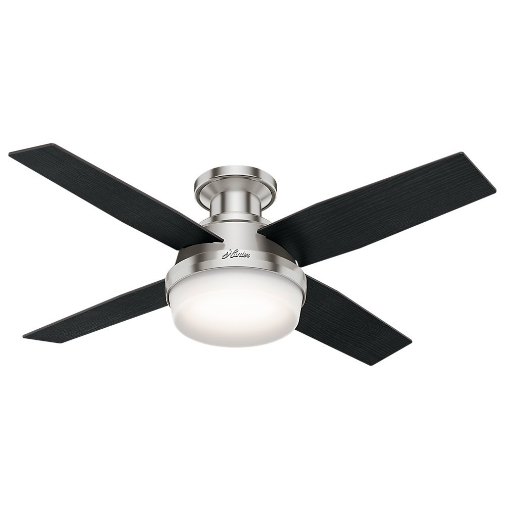 Hunter 59243 Dempsey Low Profile With Light Brushed Nickel Ceiling Fan With Light & Remote, 44 Inch