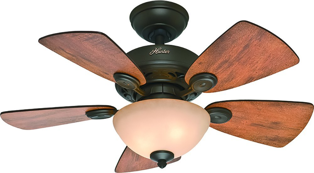 Hunter Fan Company 52090 Watson Ceiling Fan with Five Cabin Home/Walnut Blades and Light Kit, 34-Inch, New Bronze