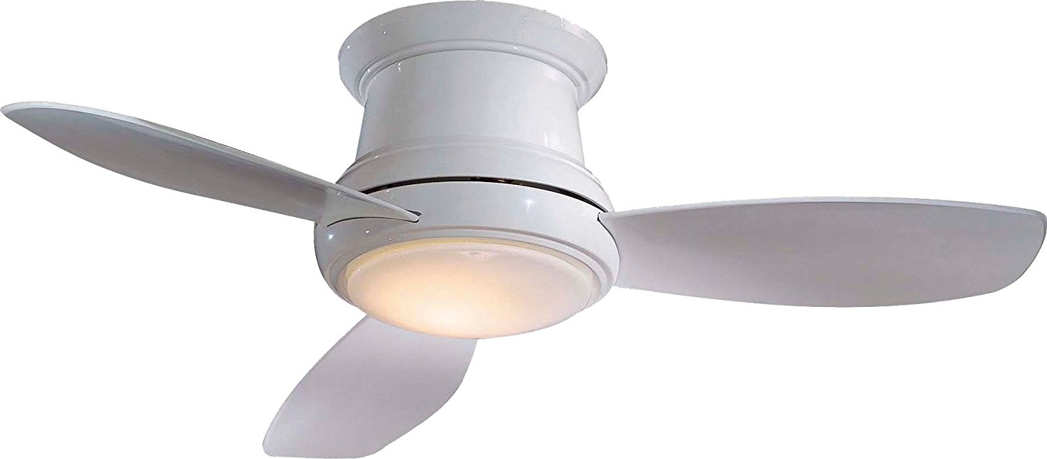 "Minka-Aire F518L-WH, Concept II LED White Flush Mount 44"" Ceiling Fan with Light & Remote Control"