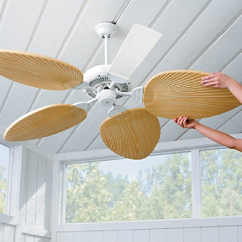 Palm-Leaf Ceiling Fan Blades-Set of 5 - Ivory by Improvements