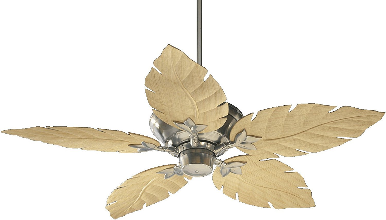Quorum International 135525-65 Monaco Patio Ceiling Fan with Decorative Maple ABS Blades, 52-Inch, Satin Nickel Finish