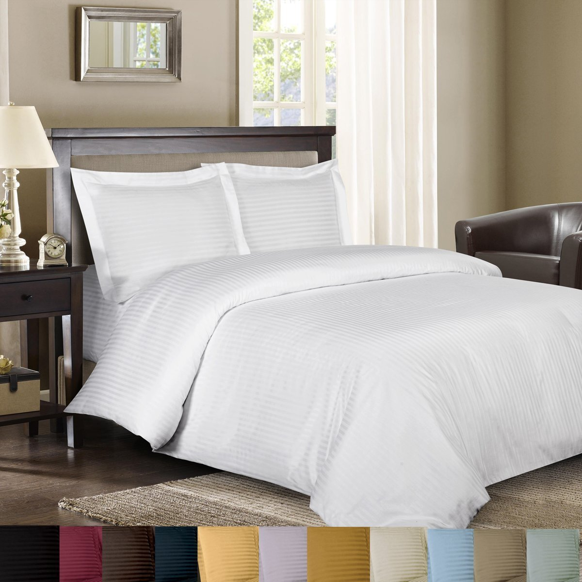 Royal Hotel Sateen Striped 300-Thread-Count 3-Piece Cotton King Duvet-Cover Set, White