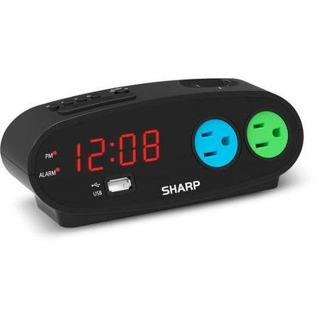 Sharp Alarm with snooze, USB and 2 power Outlets, Black