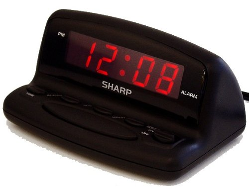 "Sharp SPC026A .6"" Red LED, Snooze, Battery backup-Black case"