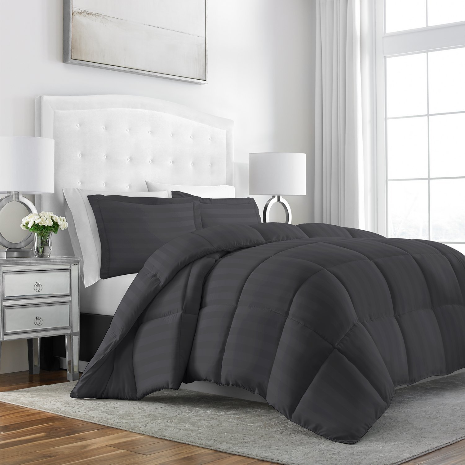 Sleep Restoration Luxury Goose Down Alternative Dobby Striped Comforter 3-Piece Set - Premium Hypoallergenic All Season Duvet Set - Twin/Twin XL - Gray
