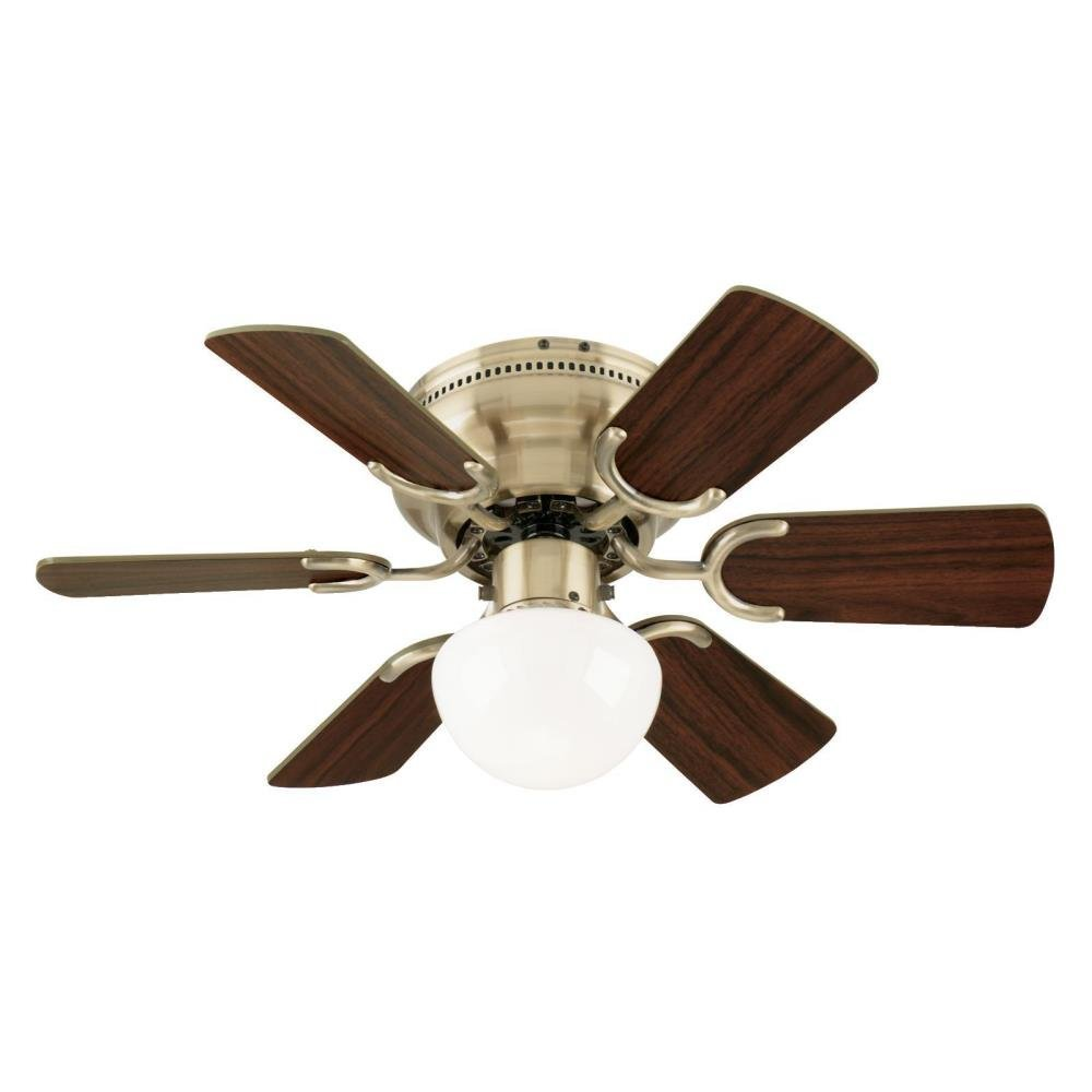 Westinghouse 7215800 Petite Single-Light 30 inch Reversible Six-Blade Indoor Ceiling Fan, Antique Brass with Opal Mushroom Glass