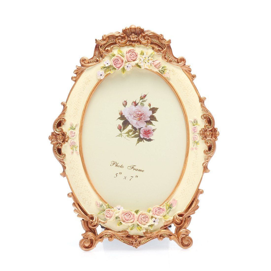 5x7 Inches Victorian Floral Oval Picture Frame