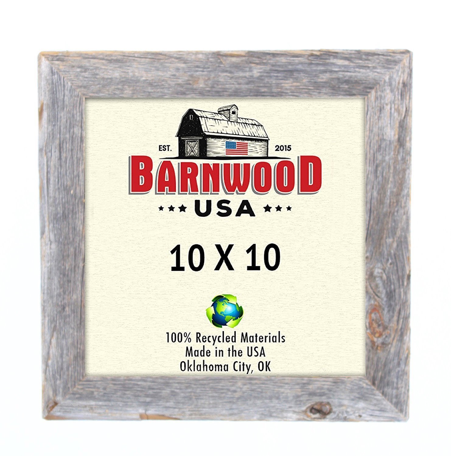 BarnwoodUSA Rustic 10 by 10 Inch Standard Picture Frame with 1.25 Inch Wide Molding - 100% Reclaimed Wood, Weathered Gray