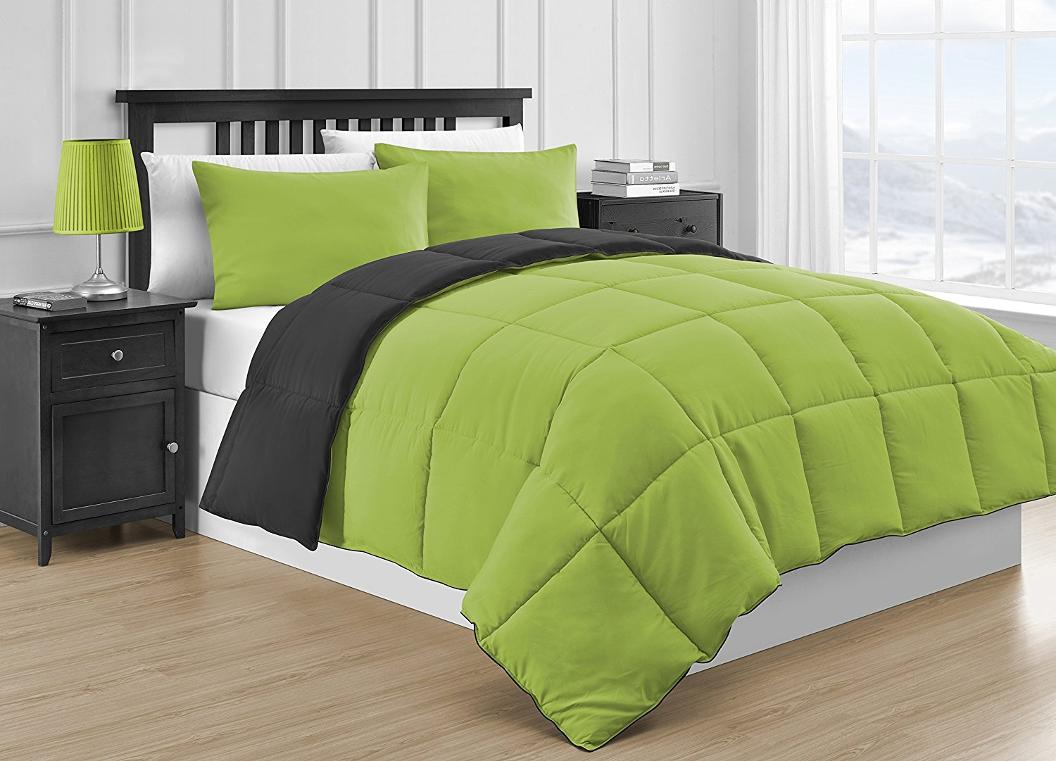 Comfy Bedding Reversible Microfiber Black & Lime Green 3-Piece Comforter Set (Queen, Black & Lime Green)
