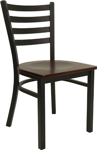 HERCULES Series Black Ladder Back Metal Restaurant Chair - Mahogany Wood Seat [XU-DG694BLAD-MAHW-GG]