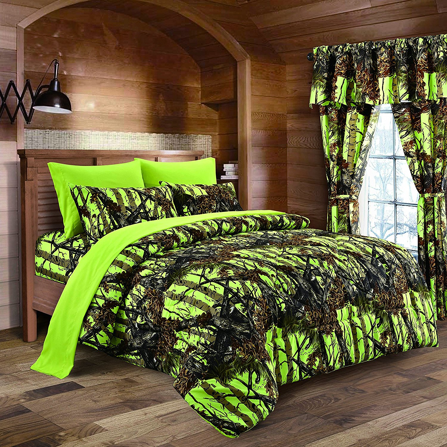 The Woods Lime Green Camouflage Full 8pc Premium Luxury Comforter, Sheet, Pillowcases, and Bed Skirt Set by Regal Comfort Camo Bedding Set For Hunters Cabin or Rustic Lodge Teens Boys and Girls