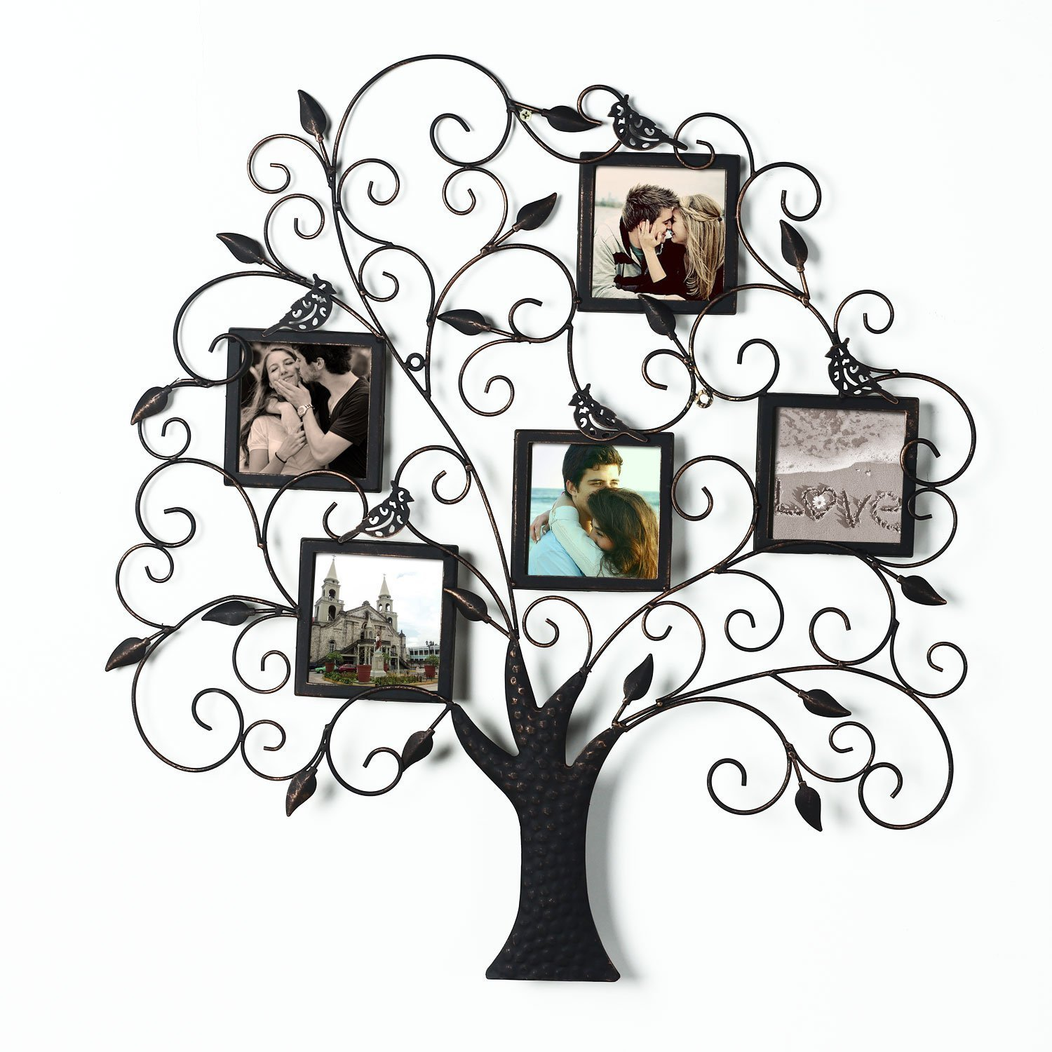 "Adeco PF0588 Brown Black Decorative Tree Style Collage Iron Metal Wall Family Tree Scroll Hanging Picture Photo Frame, 5 Opening , 4x4"" Each, Black with Antique Finish"