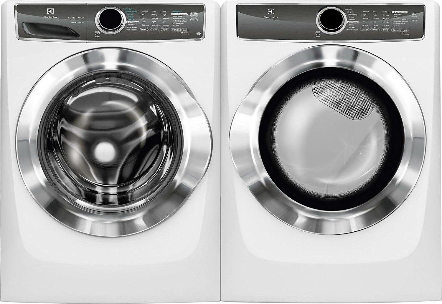 "Electrolux White Front Load Laundry Pair with EFLS617SIW 27"" Washer and EFME617SIW 27"" Electric Dryer"