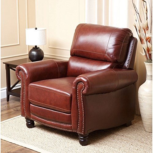 Abbyson Baron Hand Rubbed Living Room Pushback Leather Recliner in Dark Brown