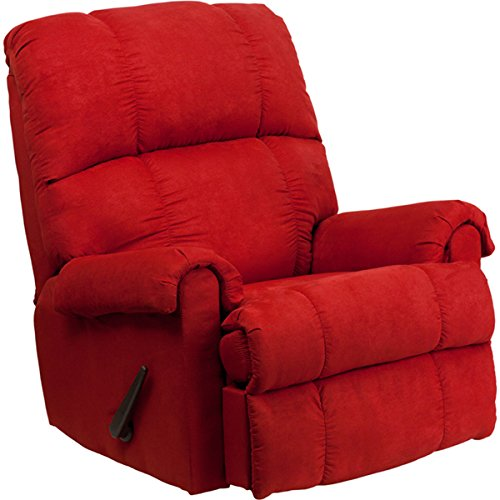 Contemporary Montana Living Room Rocker Microfiber Suede Recliner, Very, Lush,Comfortable, Easy to Clean in Red