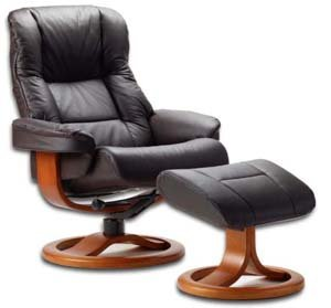 Fjords 855 Loen Large Leather Recliner Norwegian Ergonomic Scandinavian Lounge Reclining Chair Furniture Nordic Line Genuine Havana Dark Brown Leather Cherry Wood