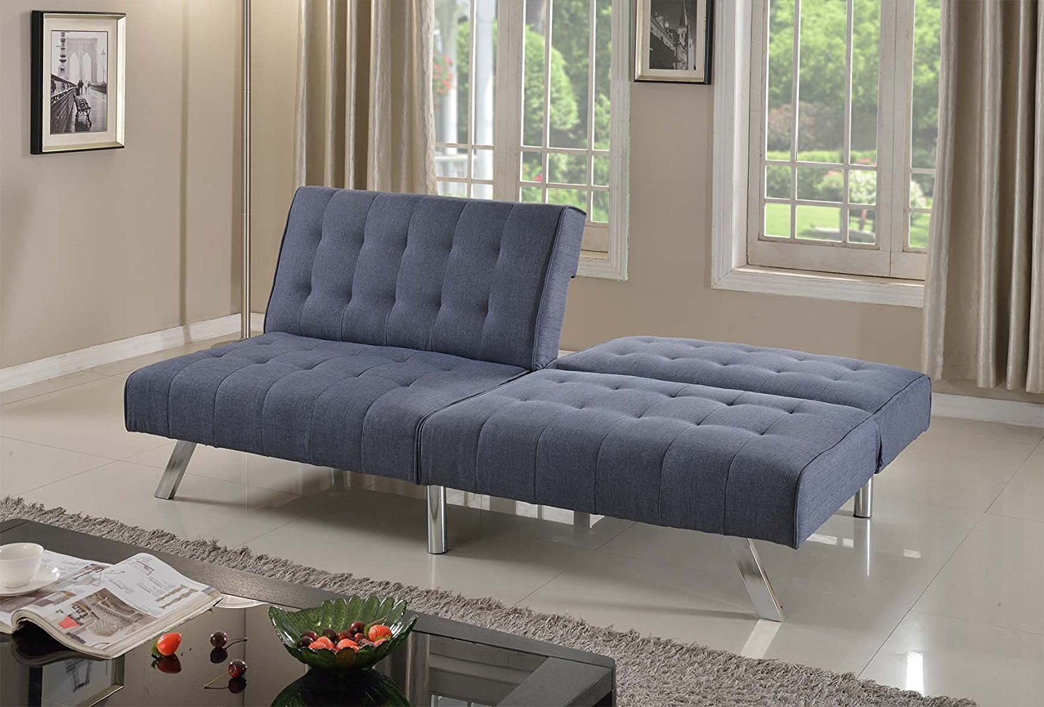 "Home Life Linen with Split Back Adjustable Klik Klak Sofa Futon Bed Sleeper Convertible Quality, 77"" Wide, Blue"