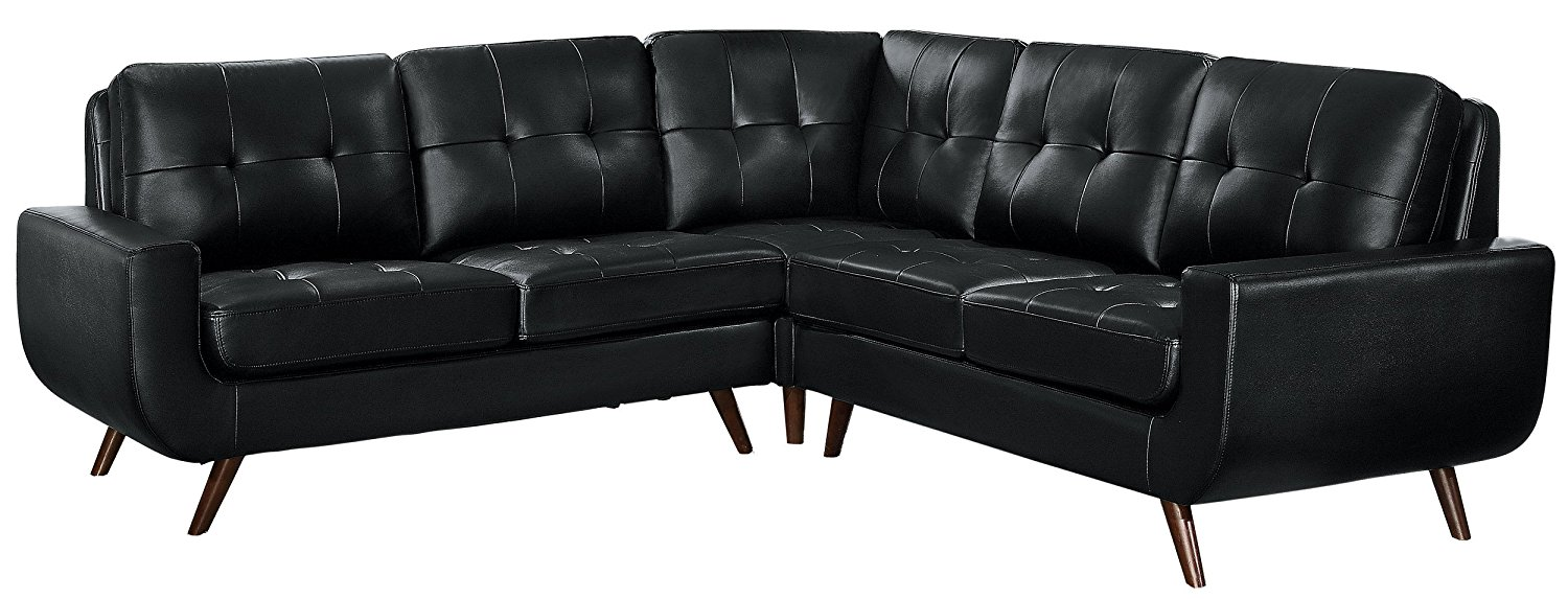 Homelegance Deryn Mid-Century Modern Sectional Sofa with Tufted Back Leather Gel Matched, Black