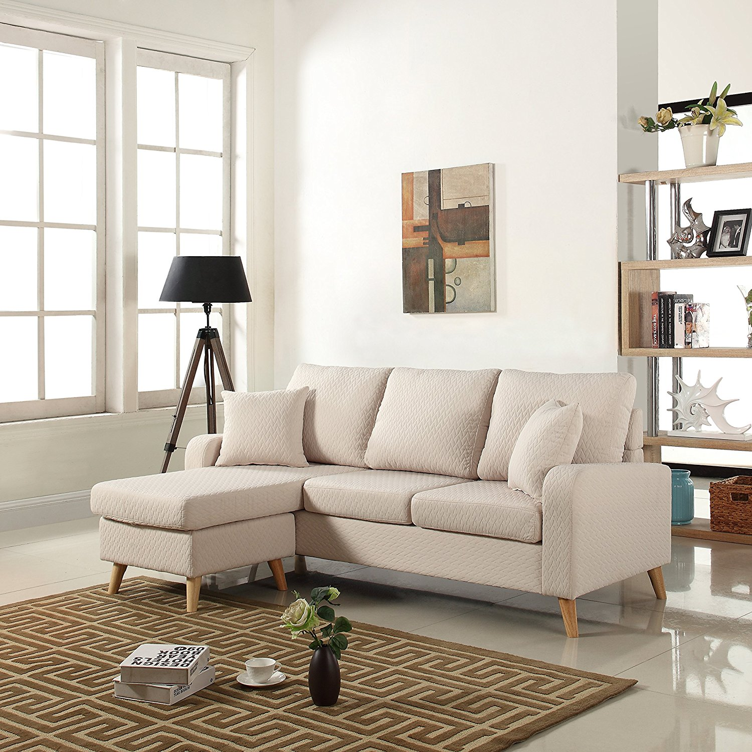 Mid Century Modern Linen Fabric Small Space Sectional Sofa with Reversible Chaise (Beige)