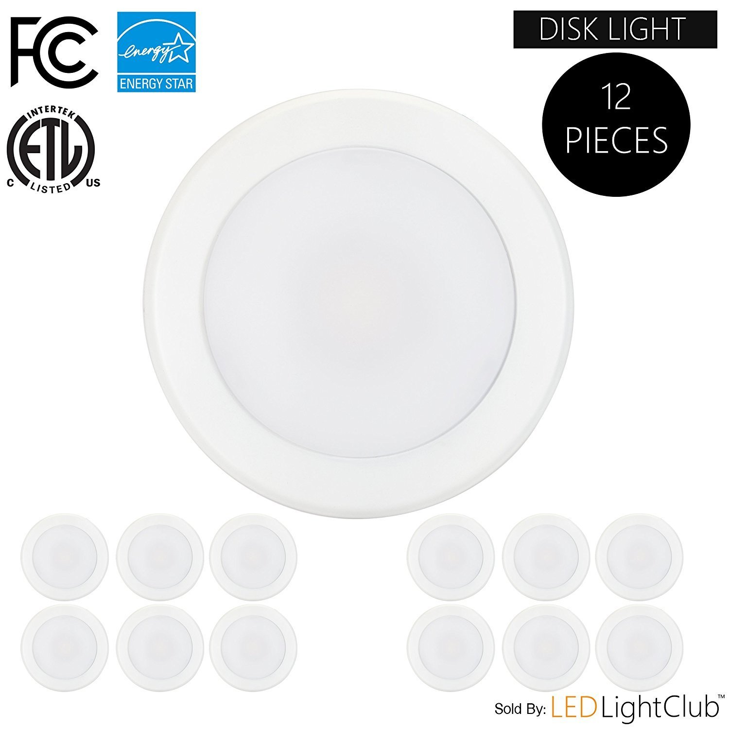 "(12-Pack)- 5/6"" Dimmable LED Disk Light Flush Mount Ceiling Fixture, 15W (120W Replacement), 5000K (Day Light), ENERGY STAR, Installs into Junction Box Or Recessed Can, 1200Lm"