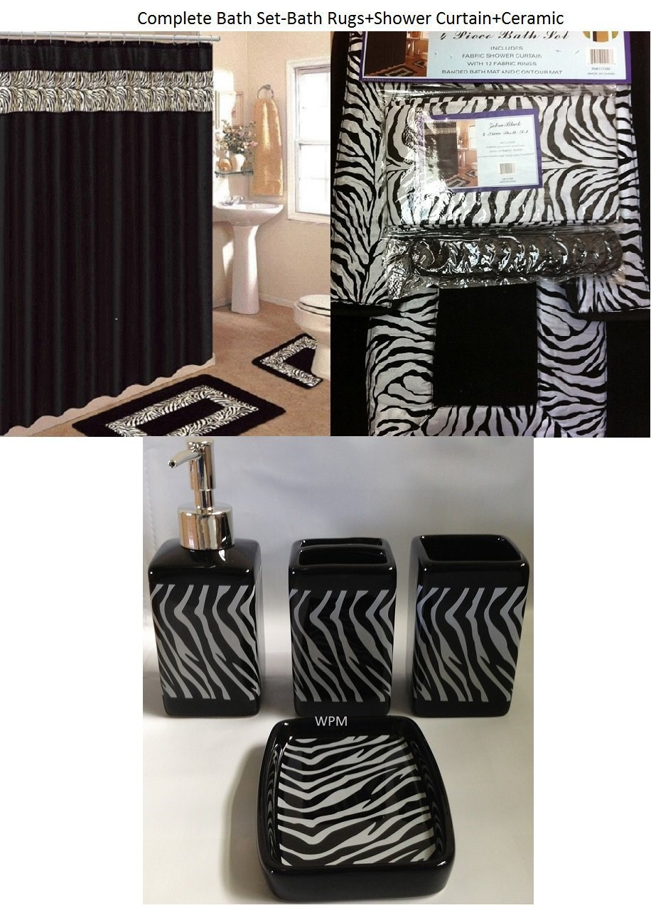 19 Piece Bath Accessory Set Black Zebra Animal Print Bath Rug Set + Black Zebra Shower Curtain & Accessories