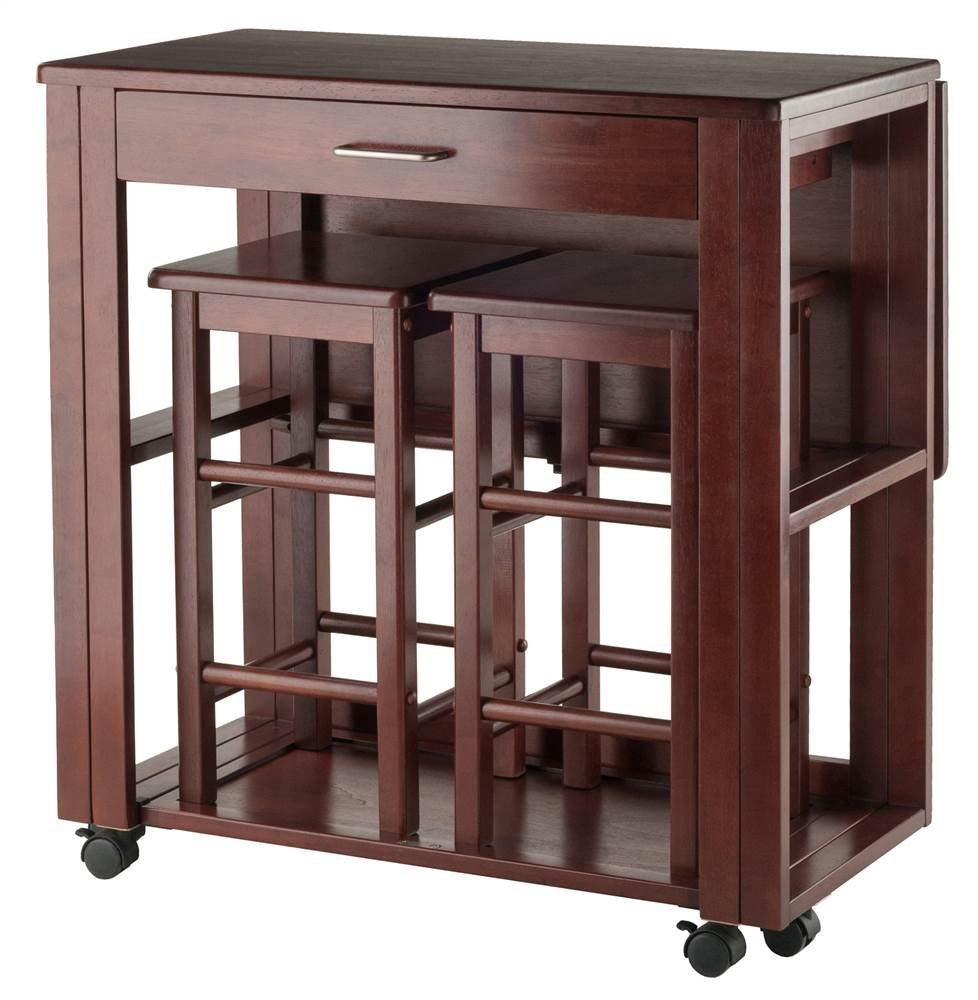 3-Pc Space Saver Set in Walnut Finish