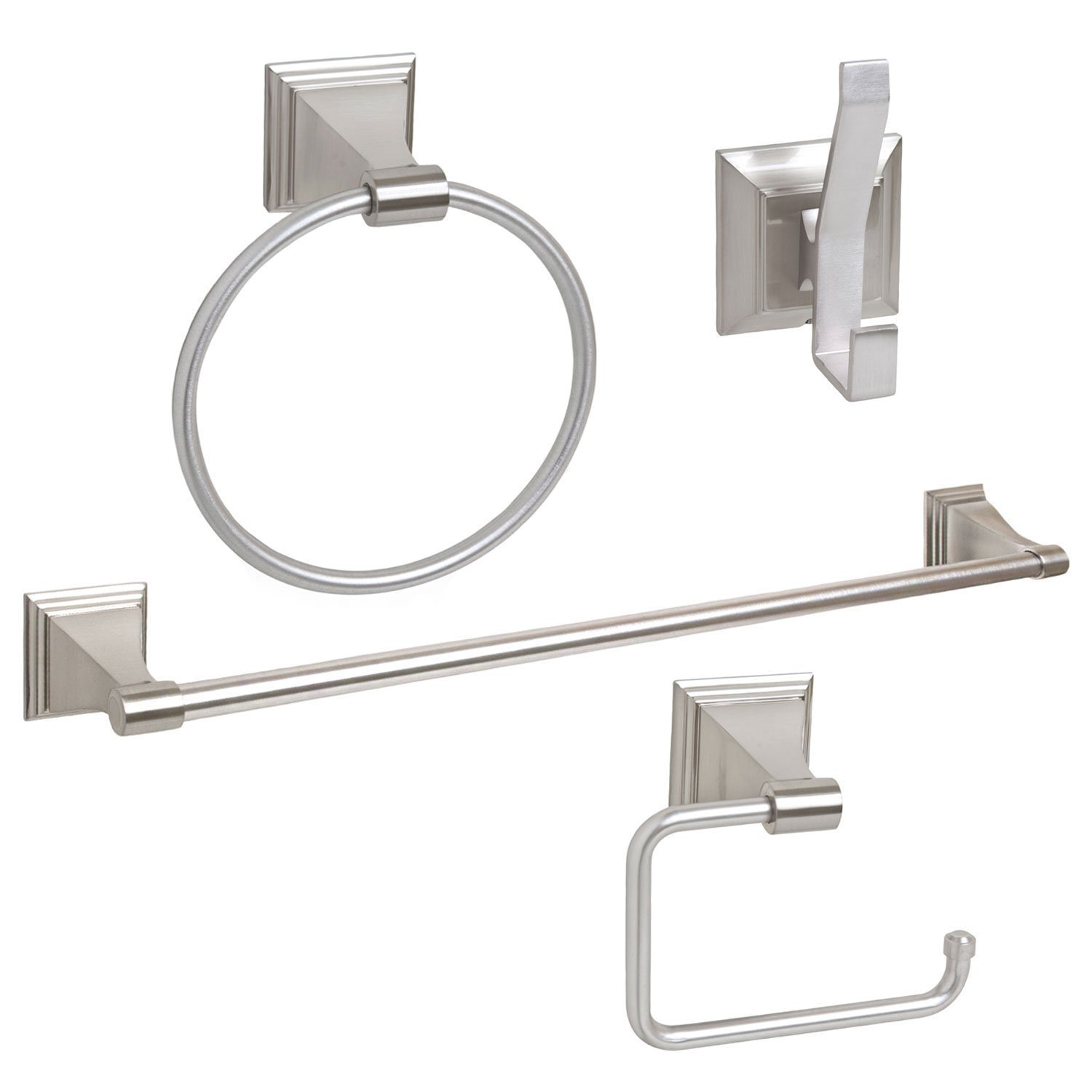"4-Piece Bathroom Hardware Accessory Set With 24"" Towel Bar - Satin / Brushed Nickel"