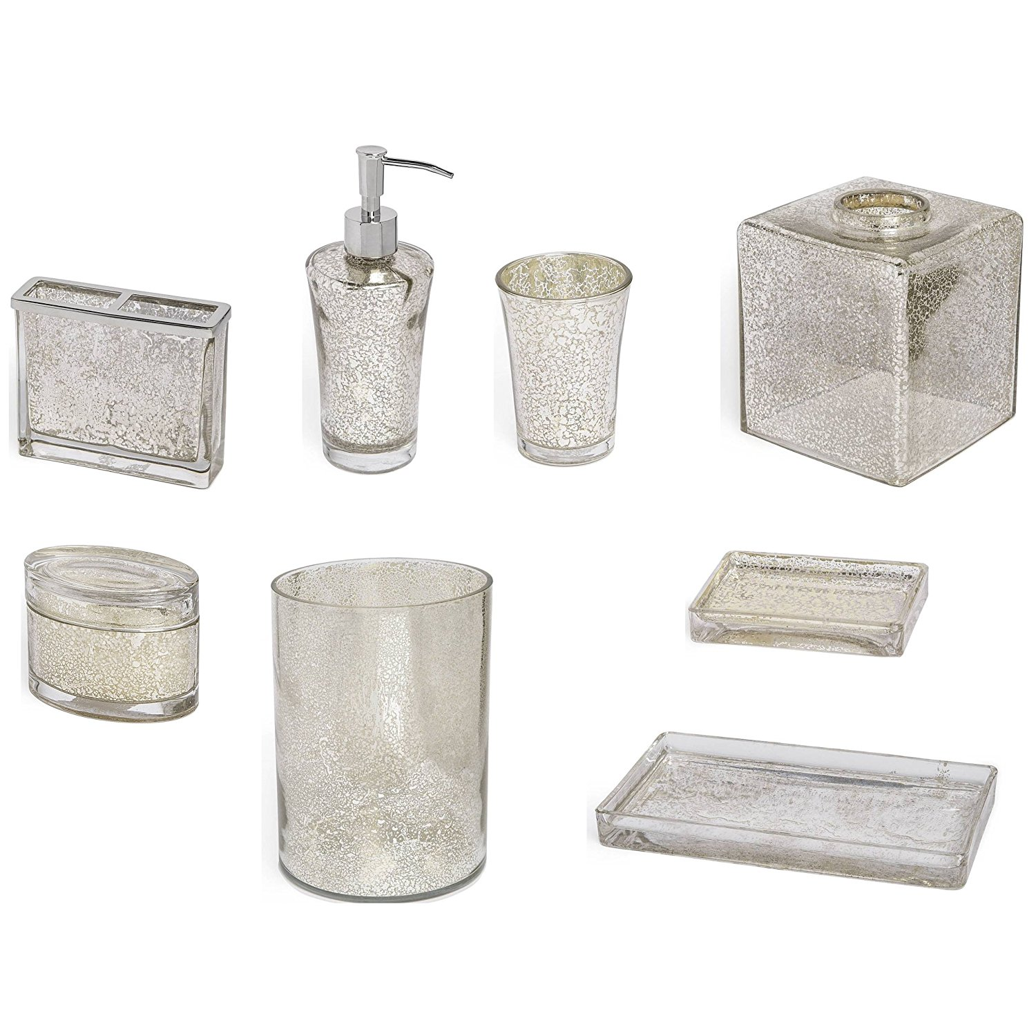 8-Piece Bath Accessory Complete Set by Kassatex, Vizcaya Bath Accessories