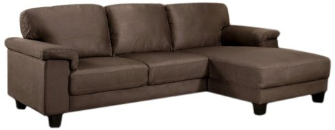 Abbyson Monte Carlo Microsuede Sectional Sofa, Dark Brown