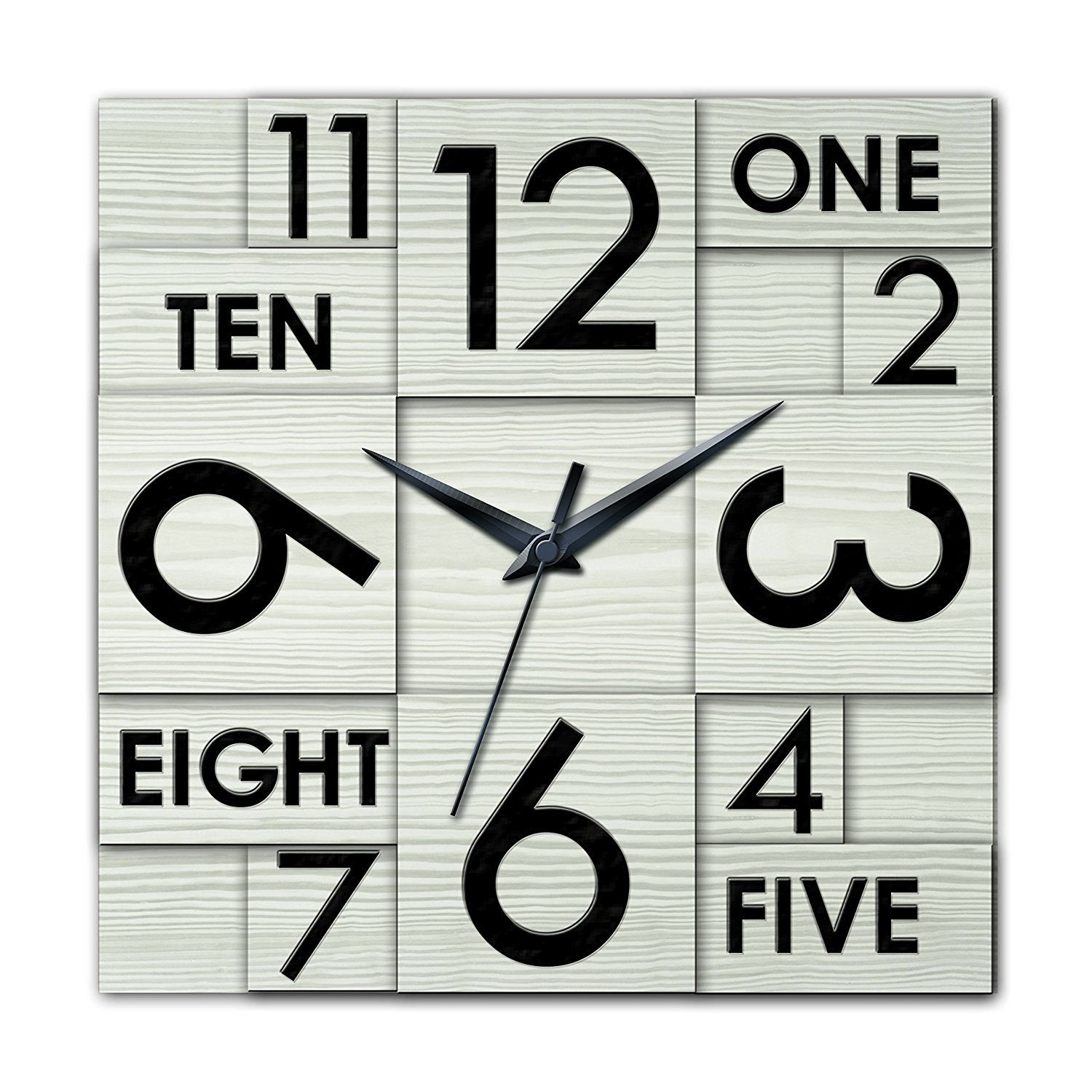 Ashton Sutton HOC022 QA Square Wall Clock, 22-Inch