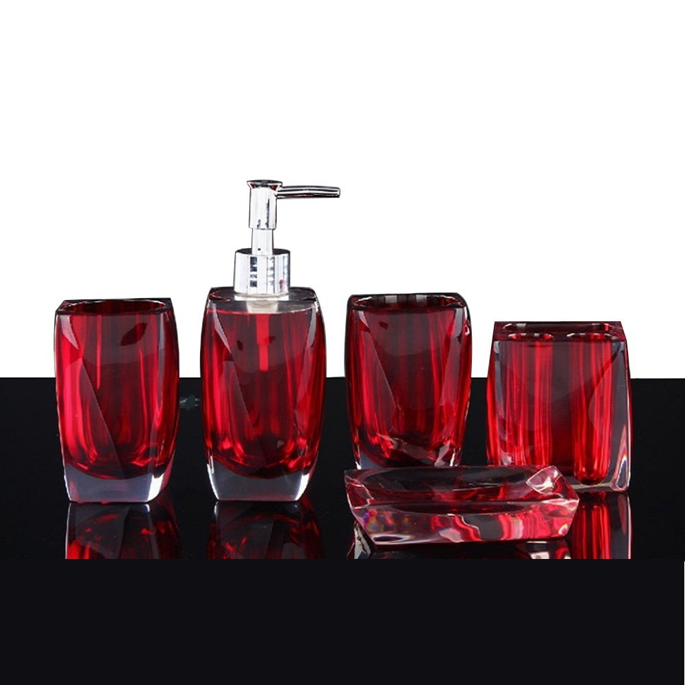 Bathroom Accessory Set Resin Soap Dish, Soap Dispenser, Toothbrush Holder & Tumbler (No tray, Red)
