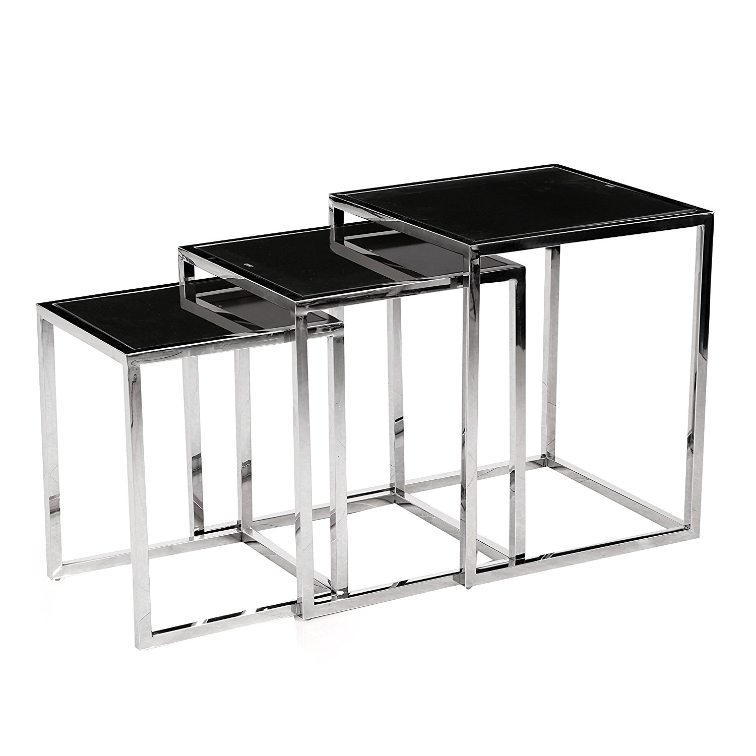 Bella Esprit Chrome Metal 3-piece Nesting Table with Black Glass Tops