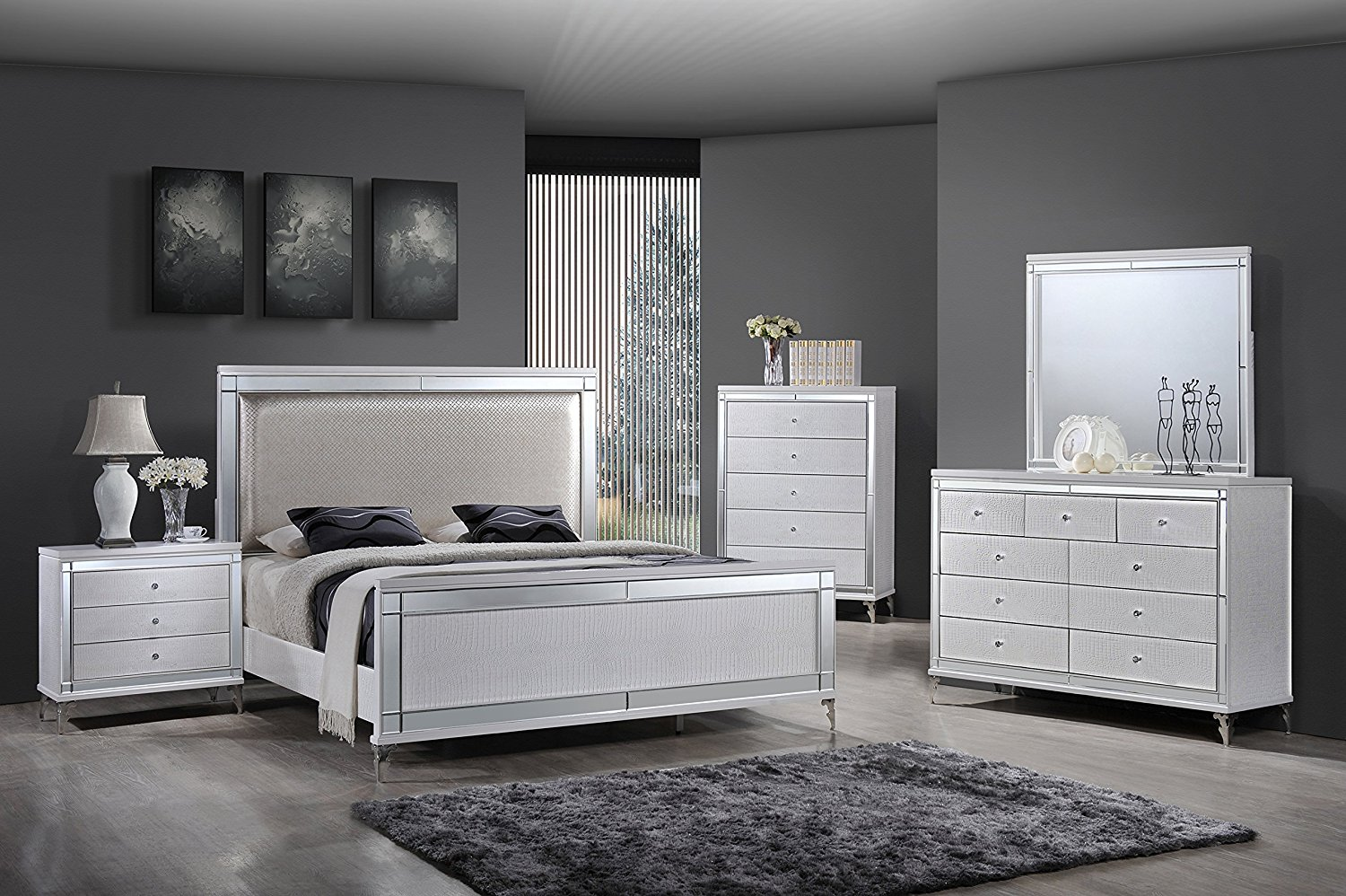 Mirrored bedroom furniture sets choice cool ideas for home - Contemporary king bedroom furniture ...