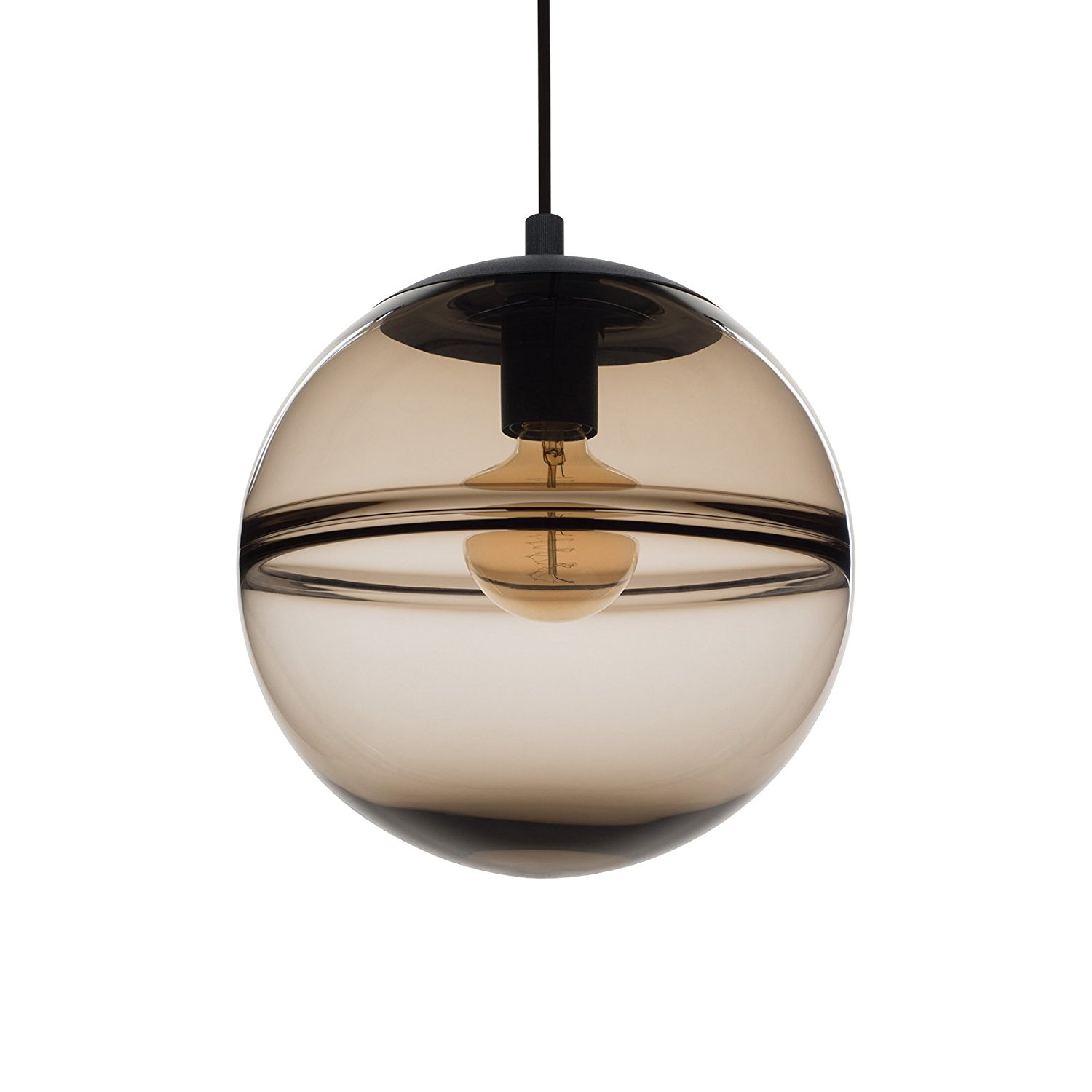 CASAMOTION Optic Contemporary Hand Blown Glass Pendant Light, Ceiling Hanging Lighting Fixtures, Light Brown