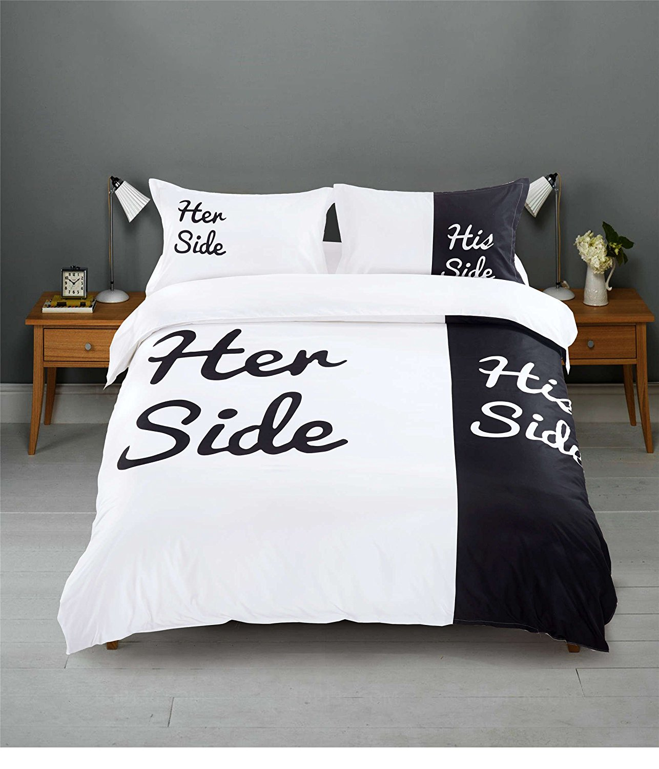 CocoQueen Couple Her/His Side 4pc Duvet Cover Set 100% Brushed Microfiber Queen Size