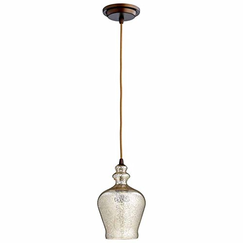 Cyan Lighting 06482 Calista - One Light Pendant, Oiled Bronze Finish with Mercury Glass
