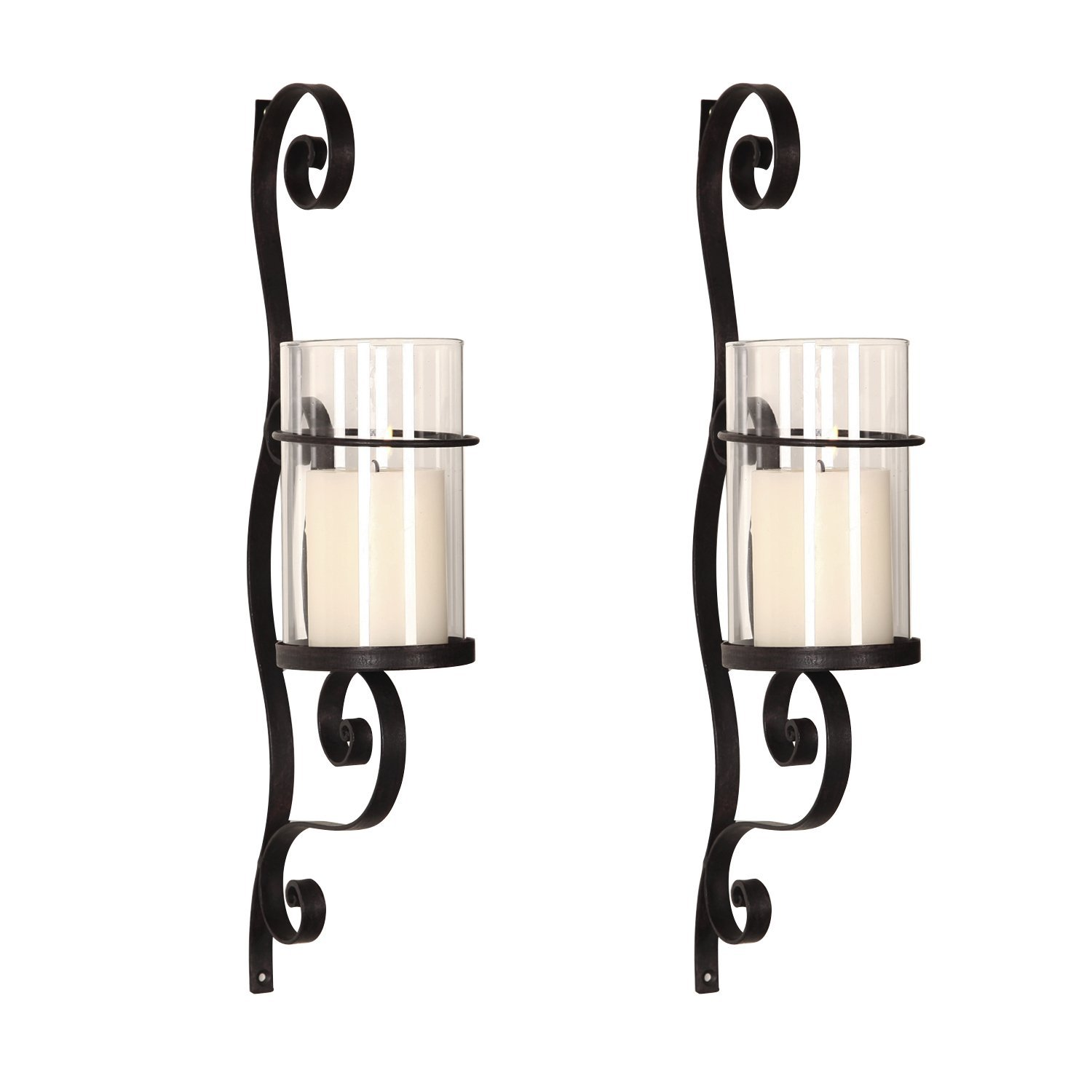 DecentHome Candle Holder Sets, Set of 2 (3D Scroll)