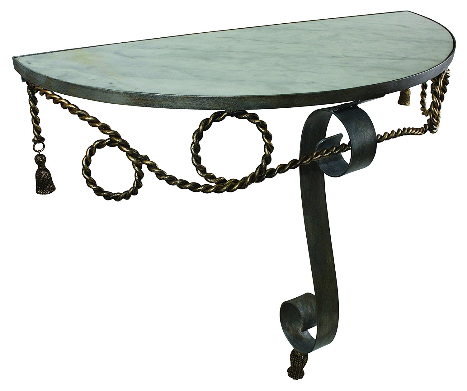Demilune Console/Hall Table with Faux Steel and Antique Gold Finish with White Marble Top