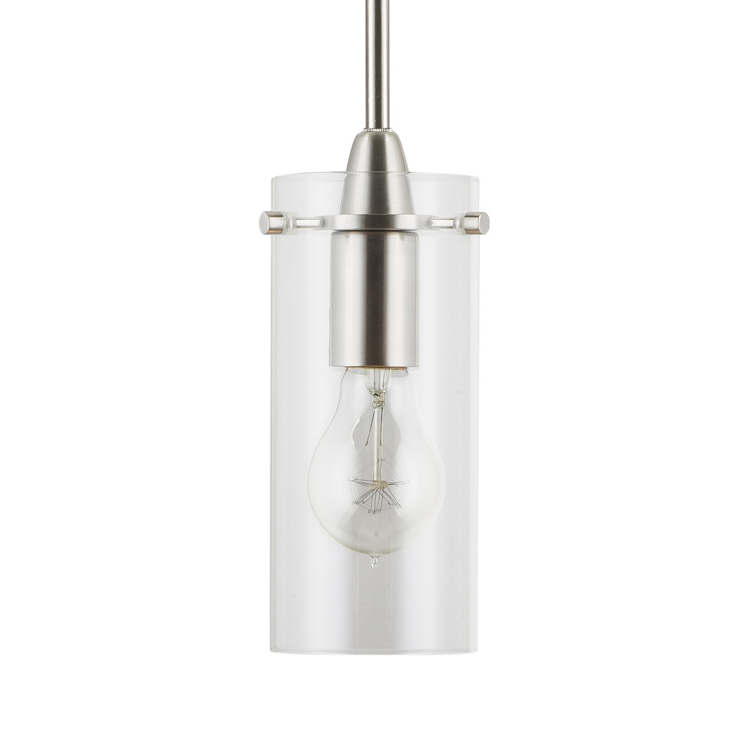 Effimero Small Stem Hung Clear Glass Contemporary Pendant Light. Brushed Nickel Fixture with Adjustable Hanging Height. Industrial Edison Modern Style. UL Listed, Linea di Liara LL-P311-BN