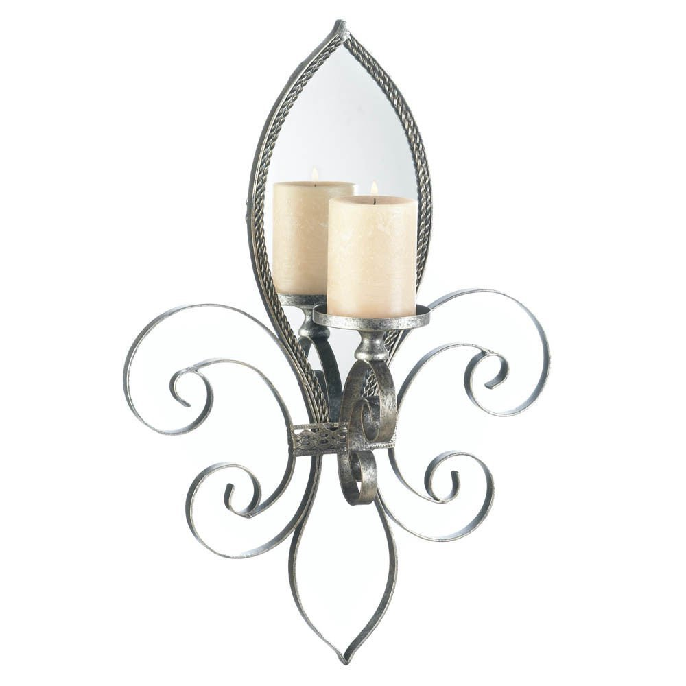 "GHP 15 1/4"" x 5 1/8"" x 22"" Fleur De Lis Mirror Wall Sconce Candle Holder"