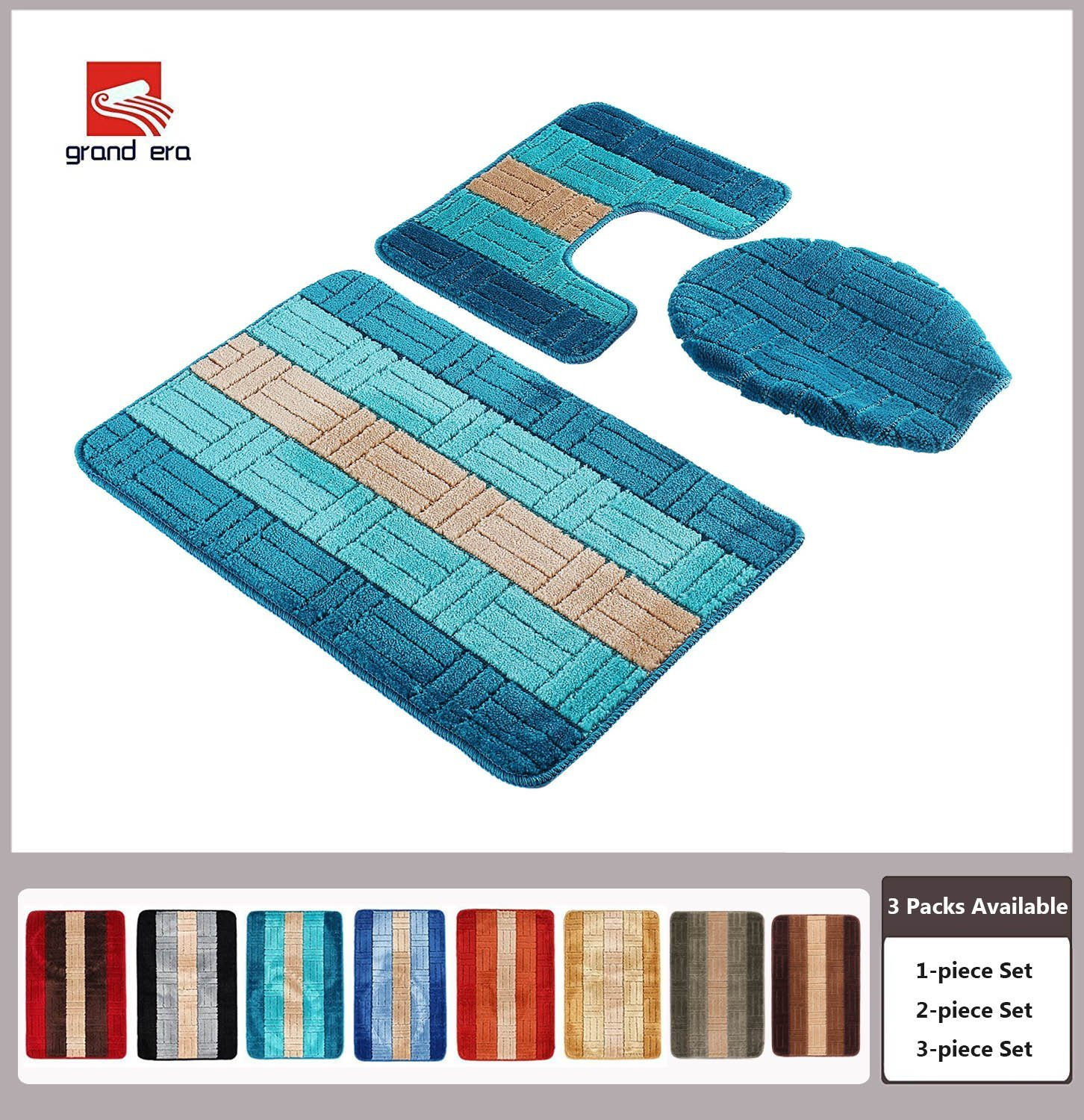 "Grand Era 3 Piece Bathroom Rug Polypropylene Fiber Mat Set and Contour Rug Set (19.7""x31.5"") (19.7""x15.7"") (18.1""x18.9"") with Lid Cover"