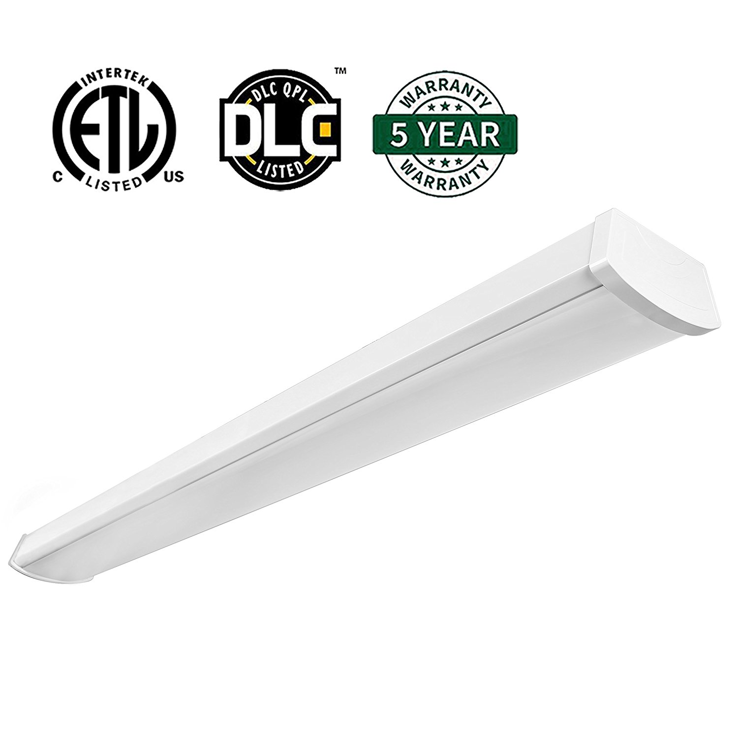 Hykolity 4ft 40W LED Garage Shop Light Wraparound Flushmount Commercial Office Ceiling Lamp 2800 Lumens 5000K Daylight White 64w Fluorescent Equivalent