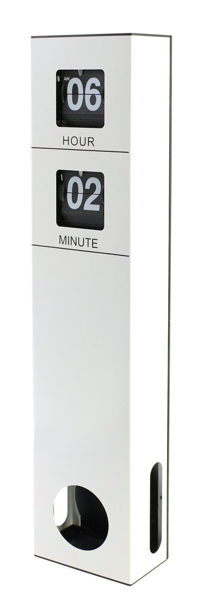 "JustNile Modern Sophisticated Decorative Tall Pendulum Wall Flip Clock- White, 18.7""x4.09""x2.3"""