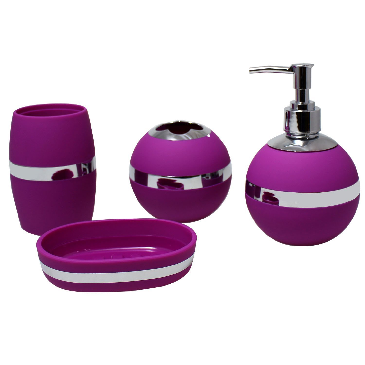 JustNile Stylish Trendy 4-Piece Bathroom Accessory Set - Purple