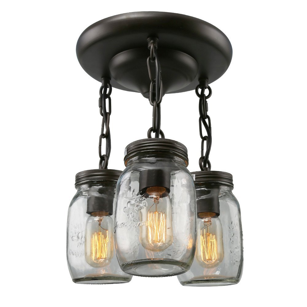 LNC Glass Pendant Lighting 3-light Jar Ceiling Lights Semi Flush Mount Ceiling Light