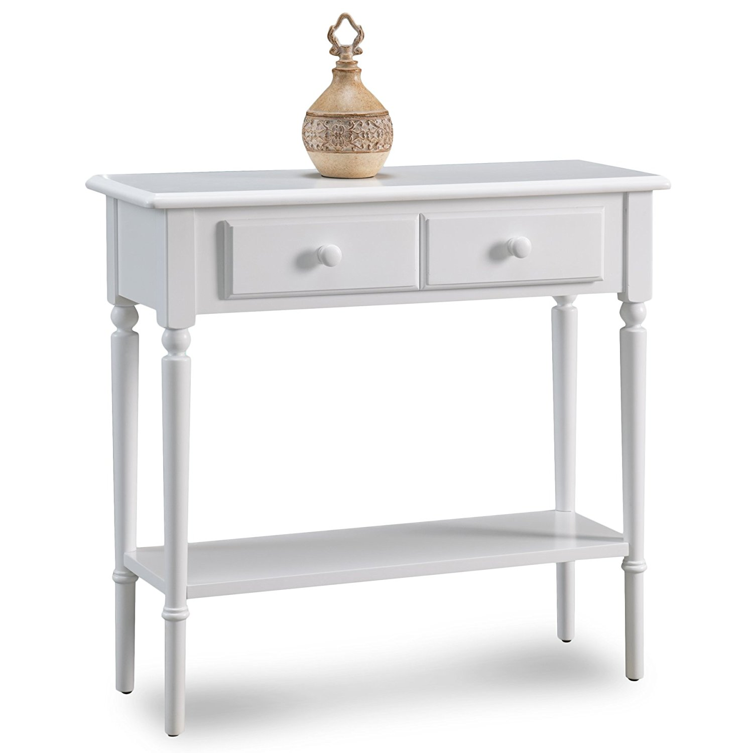 Leick 20027-WT Coastal Narrow Hall Stand/Sofa Table with Shelf, Orchid White