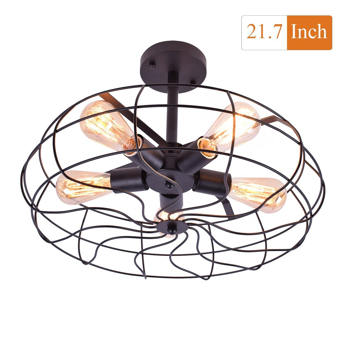 Lingkai Retro Industrial Vintage style Semi Flush Mount Ceiling Light Hallway Foyer Hanging Fixture lighting with 5 Lights