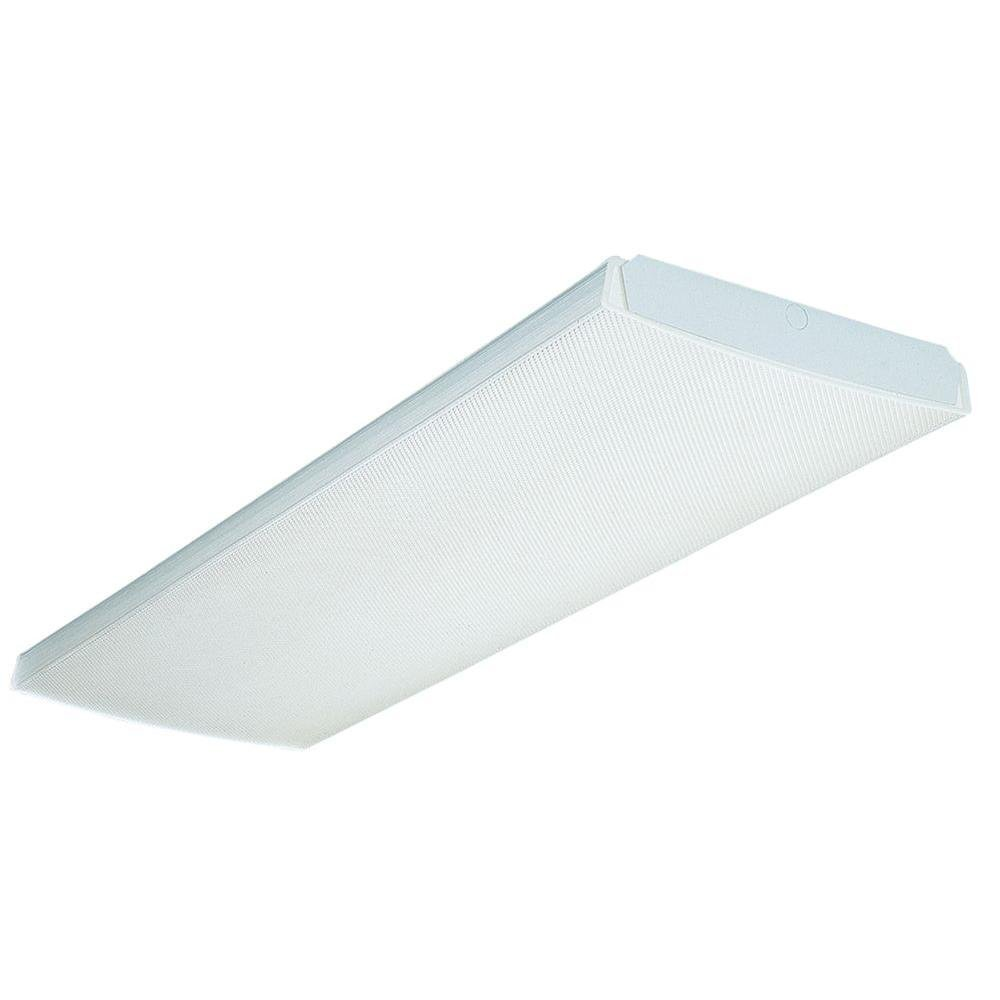 Lithonia Lighting LB432VOLT1/4VIS Wrap Flush Mounted Multi-Volt Ballast Ceiling 4-Light Fixture, White